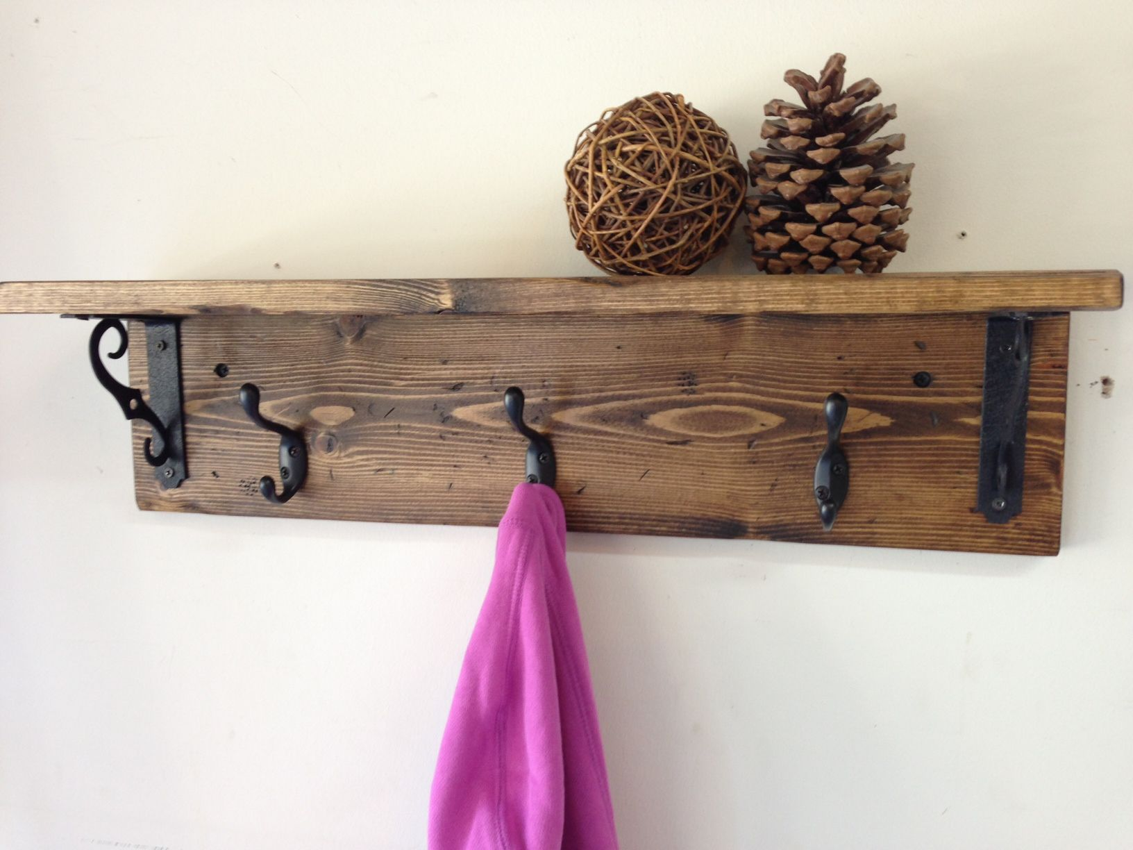 Handmade wall mount rustic wood coat rack with shelf a with railroad spike hooks rustic wood wall coat hook rack with shelf and 3 hooks vintage distressed iron handmade amipublicfo Gallery