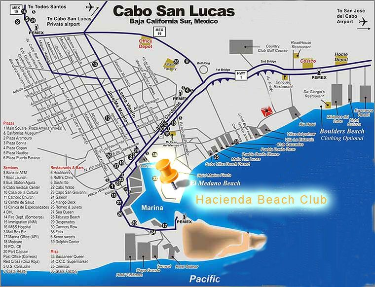 map of resorts on medano beach cabo google search - Cabo Villas Medano Beach
