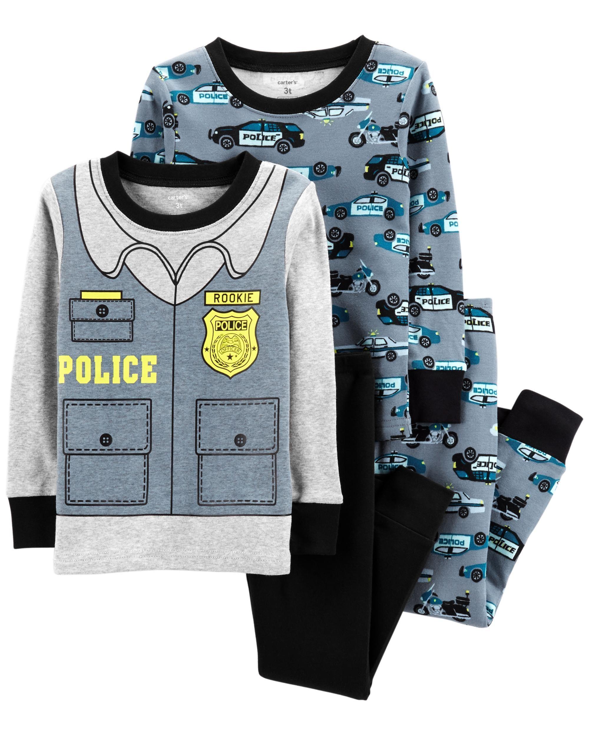 09c871978444 Toddler Boy 4-Piece Police Snug Fit Cotton PJs