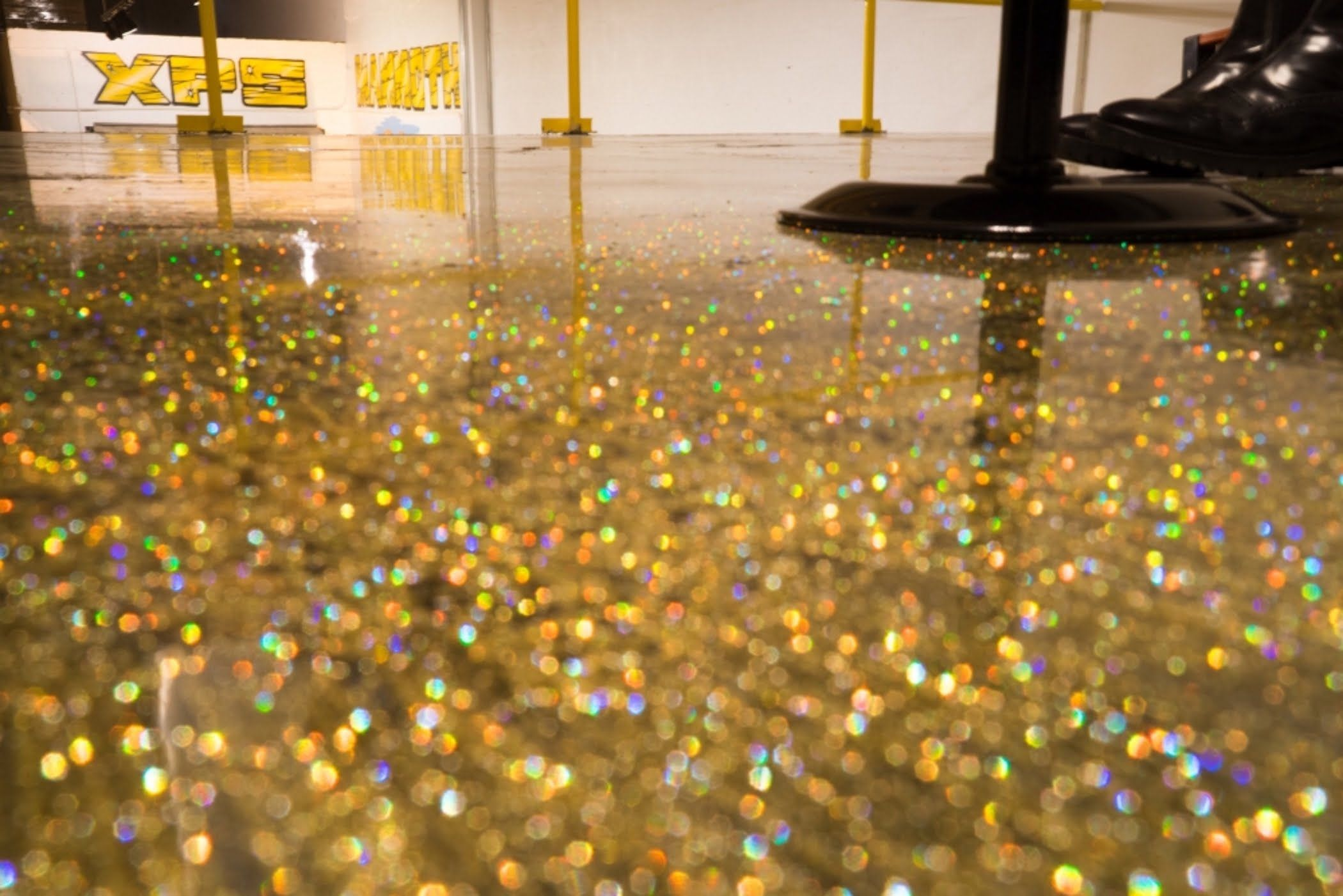 How To Do A Metallic Epoxy Floor Gold Glitter Start To Finish Metallic Epoxy Floor Glitter Floor Epoxy Floor