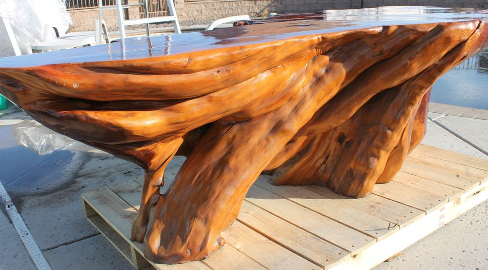 Vintage 500lb Solid Wood Japanese Hinoki Cypress Tree Trunk Stump Table