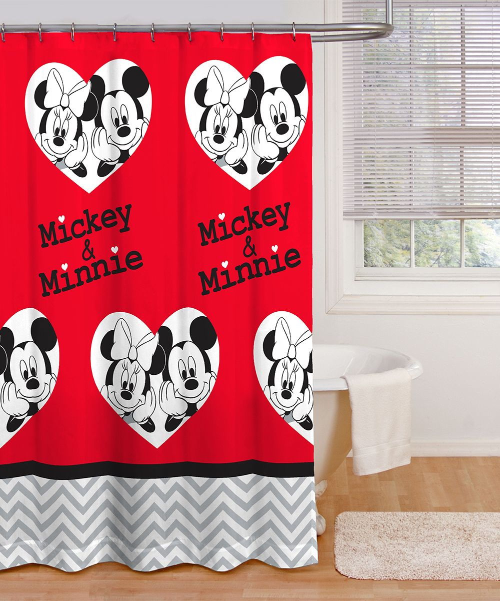 Mickey Minnie Luv You More Shower Curtain