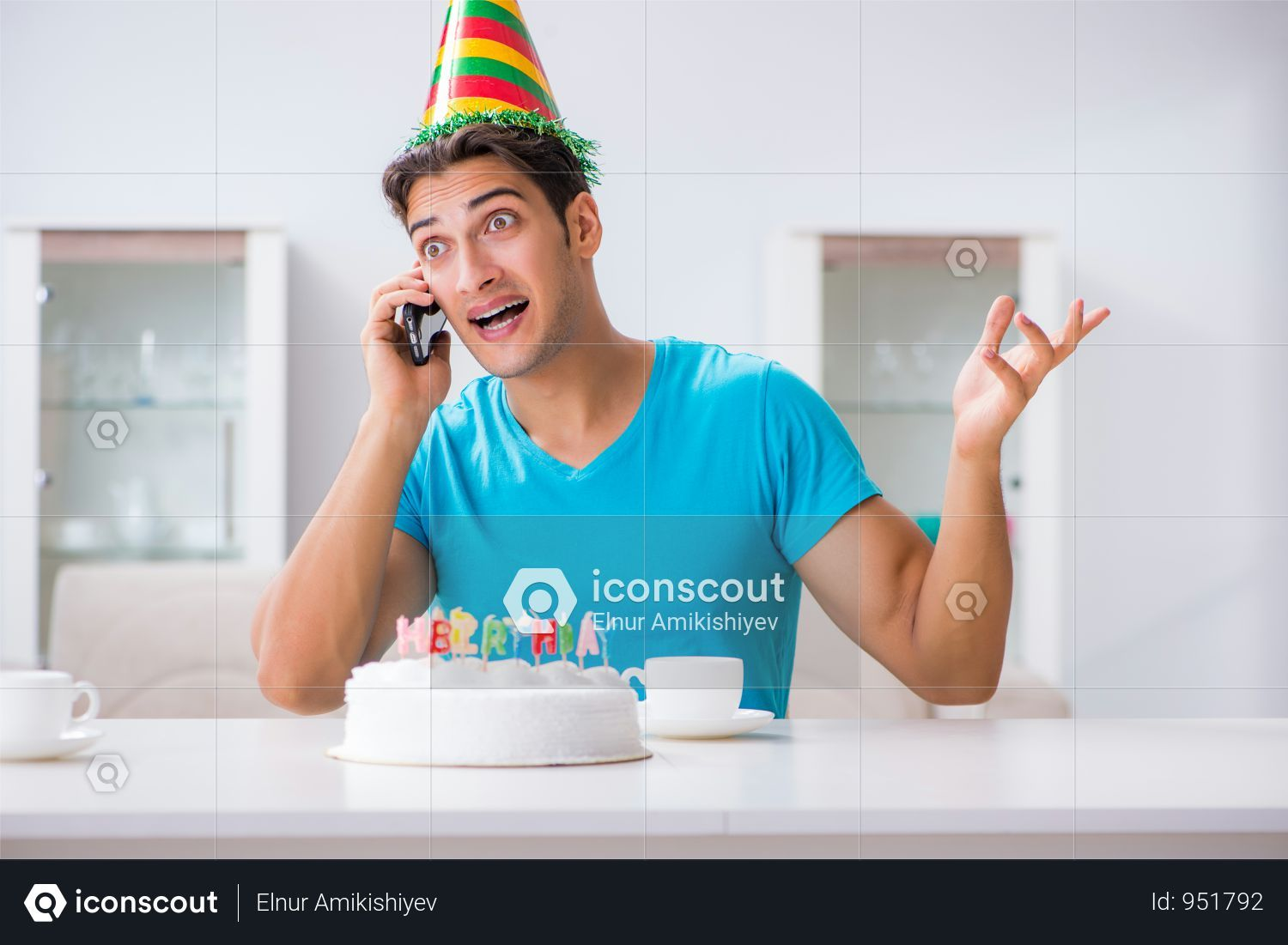 Premium Young Man Celebrating Birthday Alone At Home Photo Download In Png Jpg Format Birthday Greetings For Kids Birthday Gifts For Boys Birthday Surprise Husband