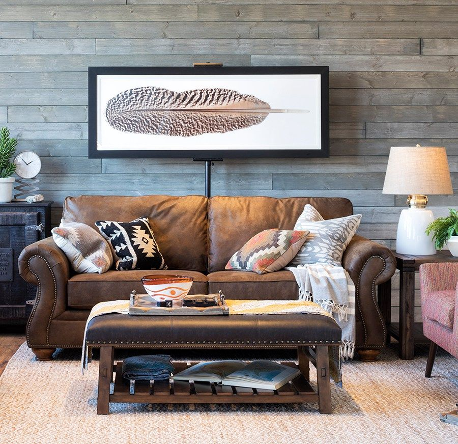 A Look You Ll Love Warm Inviting Rustic Boho Style Schneiderman S The Blog Design And Decorating Leather Couches Living Room Brown Living Room Decor Brown Living Room