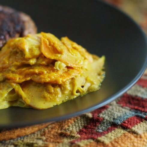 Curried Sweet Potato Gratin from @SheCooksHeCleans