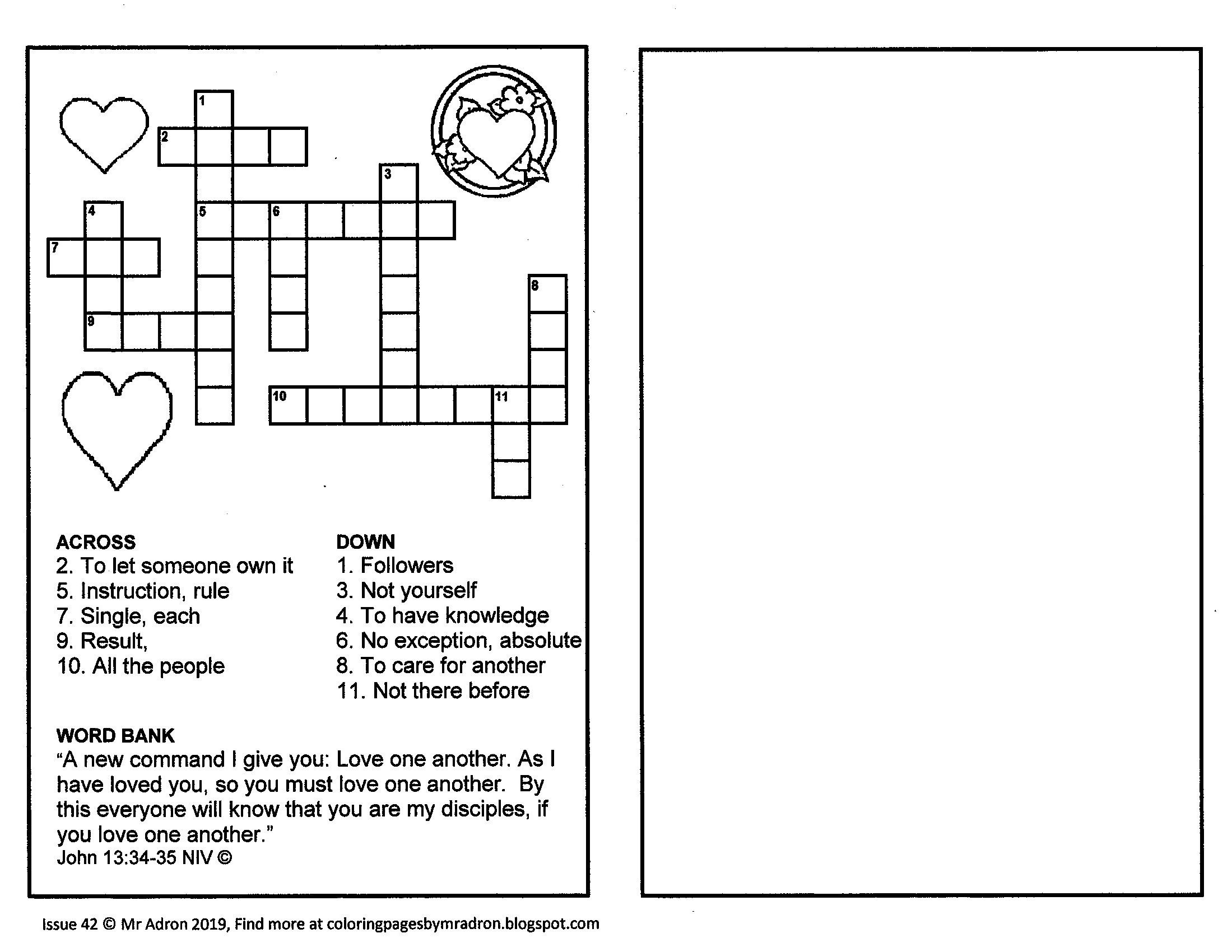 John 13 34 35 Crossword Printable In