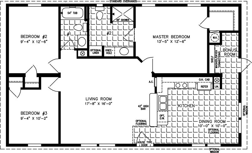 The TNR3411B Manufactured Home Floor Plan Jacobsen Homes