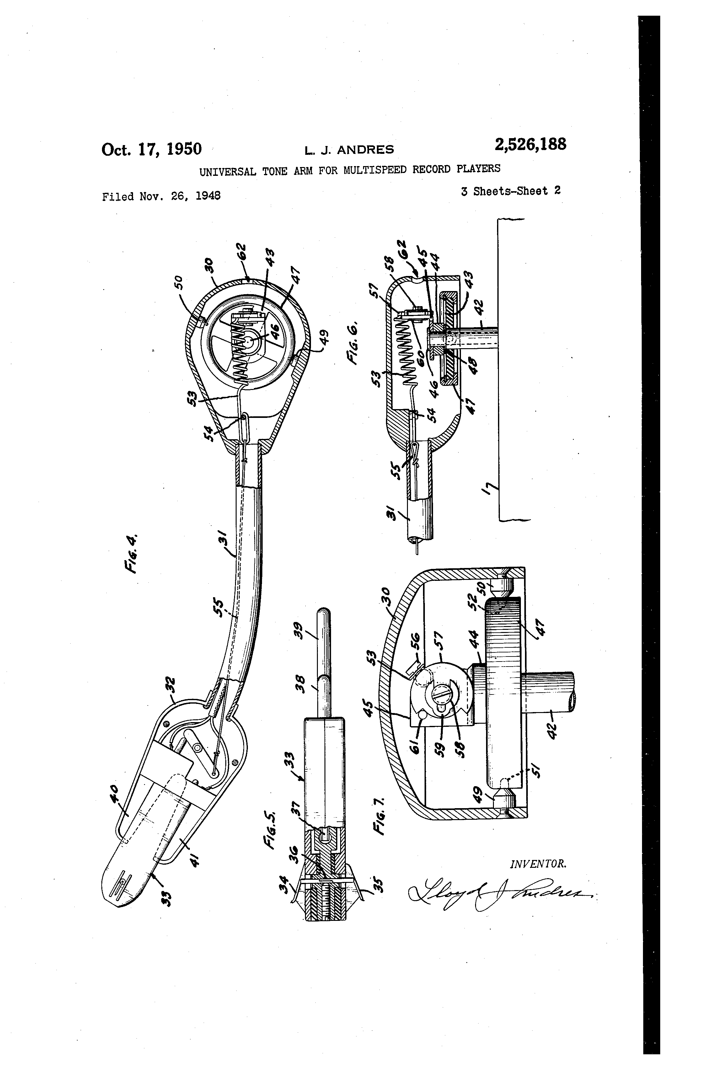 Record Player Patent Drawing