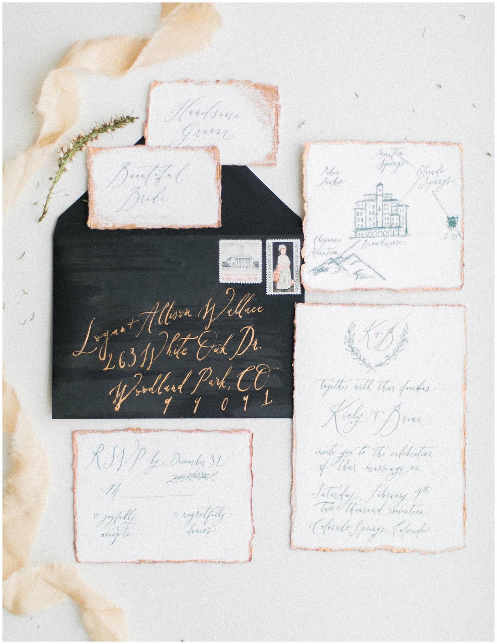 Colorado Springs Mountaintop Vow Renewal Via Rocky Mountain Bride Custom Wedding Invitations The Broadmoor Hotel Calligraphy Jacecaldwell