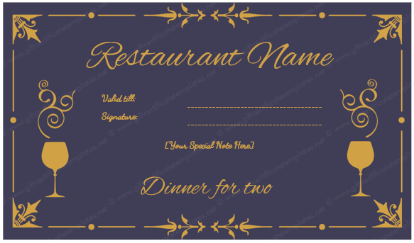 Dinner Certificate Template Free Gift Certificate Template Certificate Templates Free Gift Certificate Template