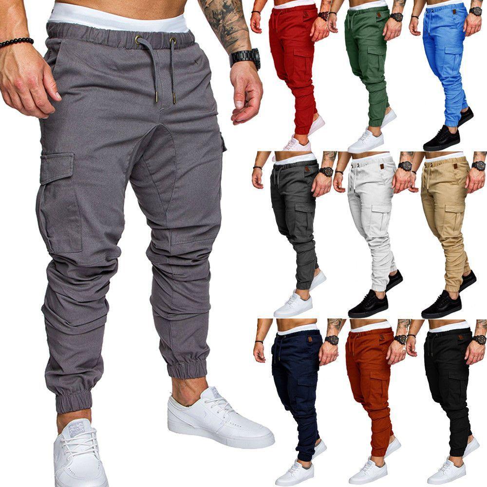 Men/'s Slim Long Straight Leg Trousers Casual Pencil Jogger Cargo Chino Pants
