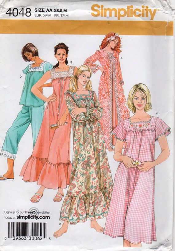 e4c476e9a7 Simplicity 4048 Misses Nightgown Pajamas Robe Pattern Womens Sewing ...