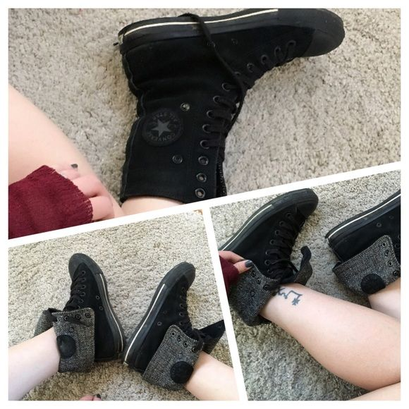 Converse high rise suede boots Kinda retro. Some wear signs  but overall In good condition. 7.5 Converse Shoes Lace Up Boots
