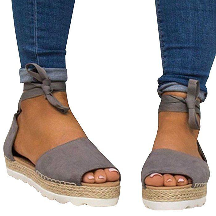acc7ca5c6660 Amazon.com  Fashare Womens Espadrilles Tie up Flat Sandals Peep Toe Classic  Espadrille Shoes  Clothing