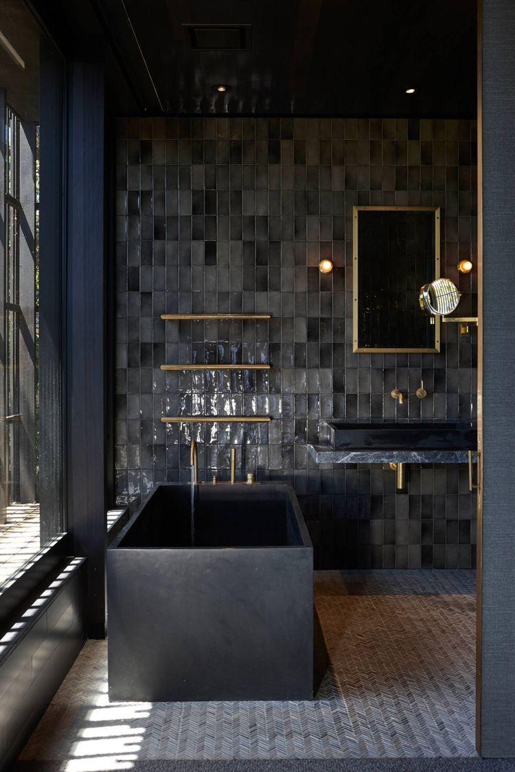Being Bold Dark Interiors Jessica Elizabeth Interiors Dark Interiors Amazing Bathrooms Bathroom Interior Design