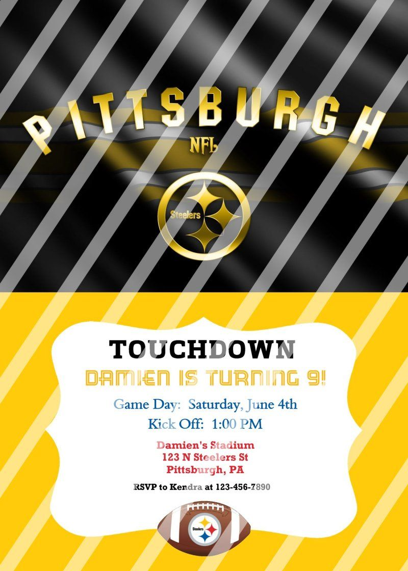 Pittsburgh Steelers Personalized Digital Party Invitation #15 (any ...