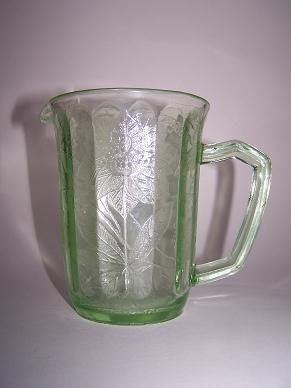 poinsettia depression glass pitcher