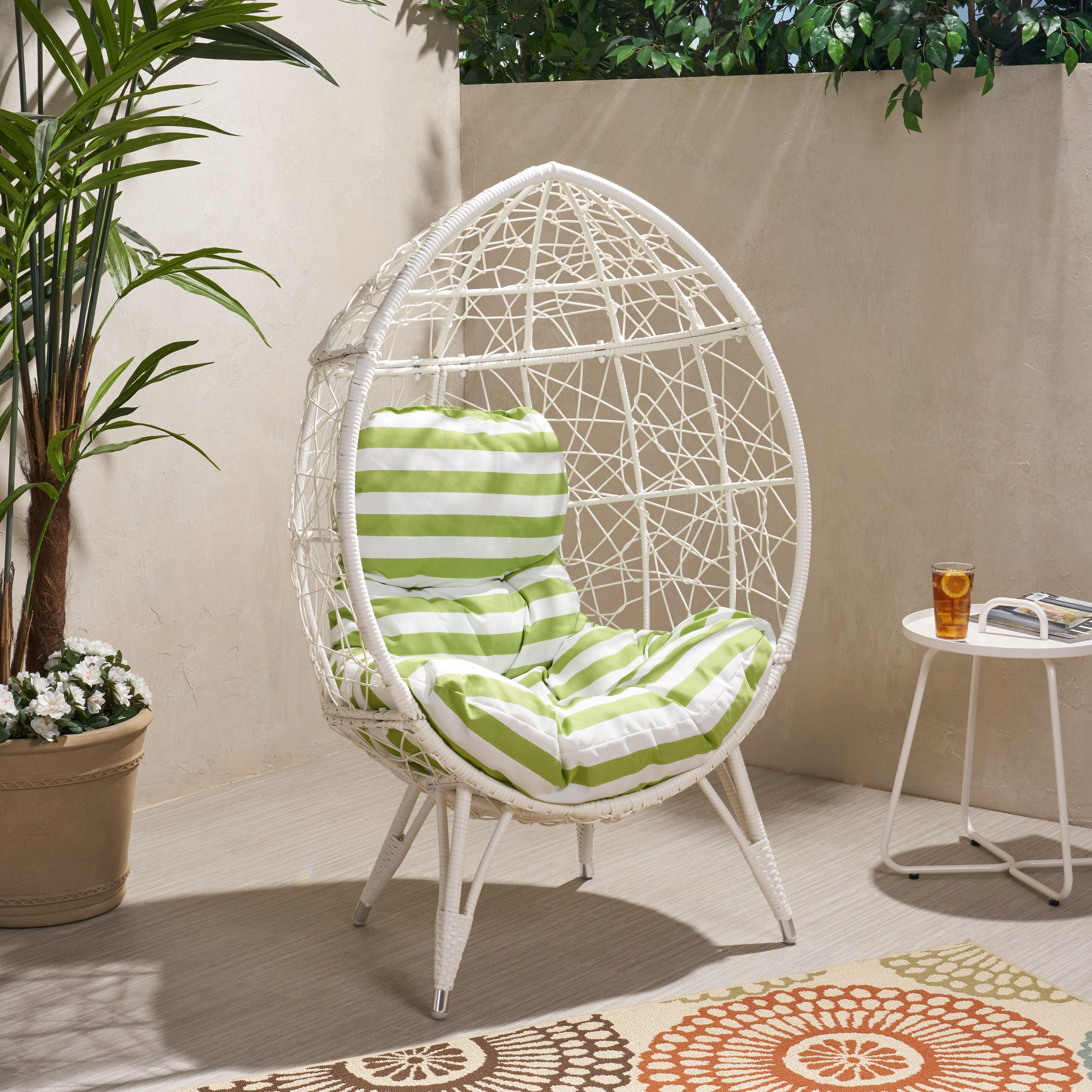 Jayson Outdoor Wicker Teardrop Chair with Cushion, White