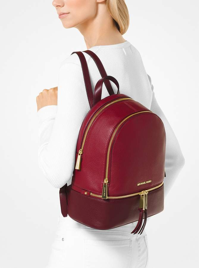 40bf550c40a1 MICHAEL Michael Kors Rhea Medium Color-Block Pebbled Leather Backpack