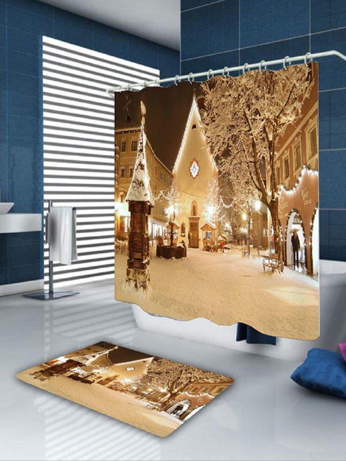 Snowscape Pattern Christmas Waterproof Bath Curtain A Wedding