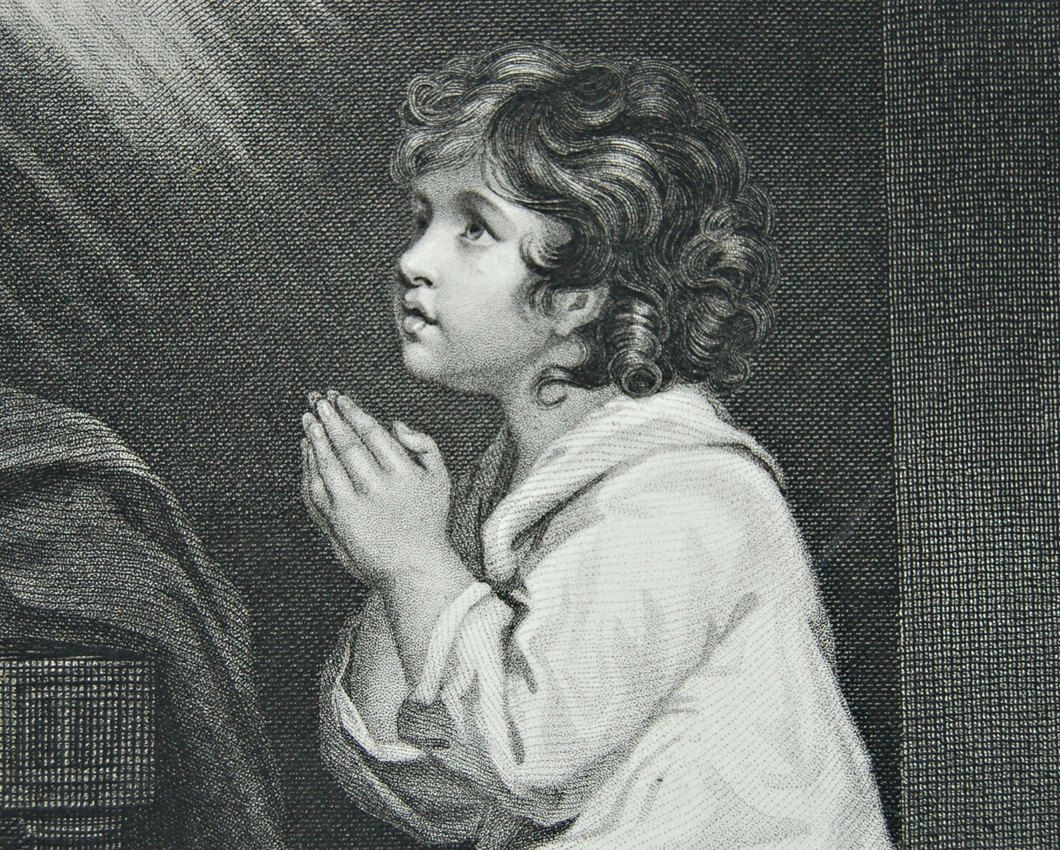 1880s original steel engraving of a child kneeling in prayer, from a painting by Reynolds. £8.00, via Etsy.