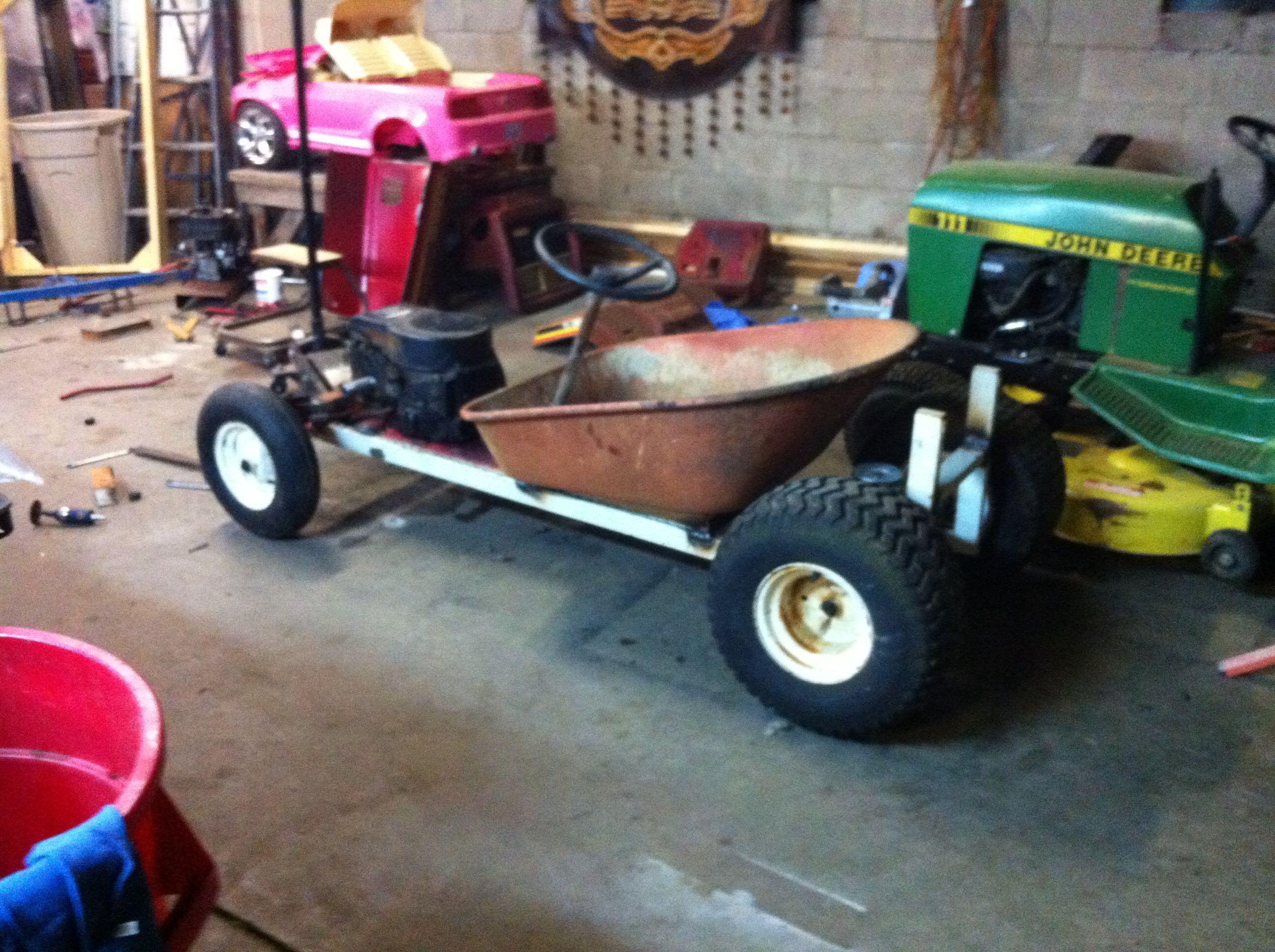 The beginnings of a lawn mower conversion rat rod go-cart | My ...