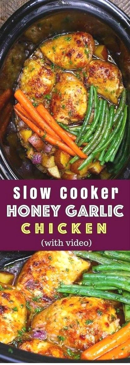 Slow Cooker Honey Garlic Chicken (With Video)