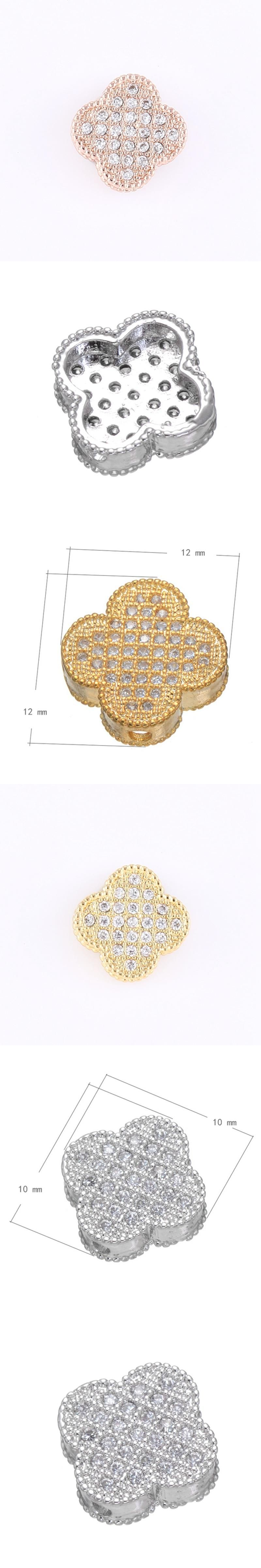 10mm12mm Gold Silver Rose Gold Color Micro Pave Rhinestone Clover