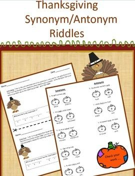 Thanksgiving synonym and antonym riddles teacher pay teachers answer key providedcustomer tipsdid you purchase this product come back and get yourself a credit to use on future solutioingenieria Gallery