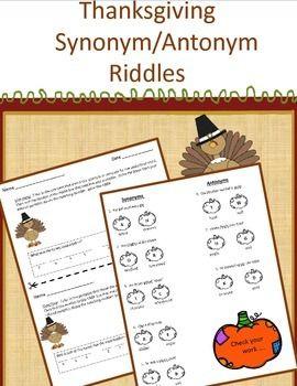 Thanksgiving Synonym Antonym Riddles Synonyms And Antonyms Antonym Synonym