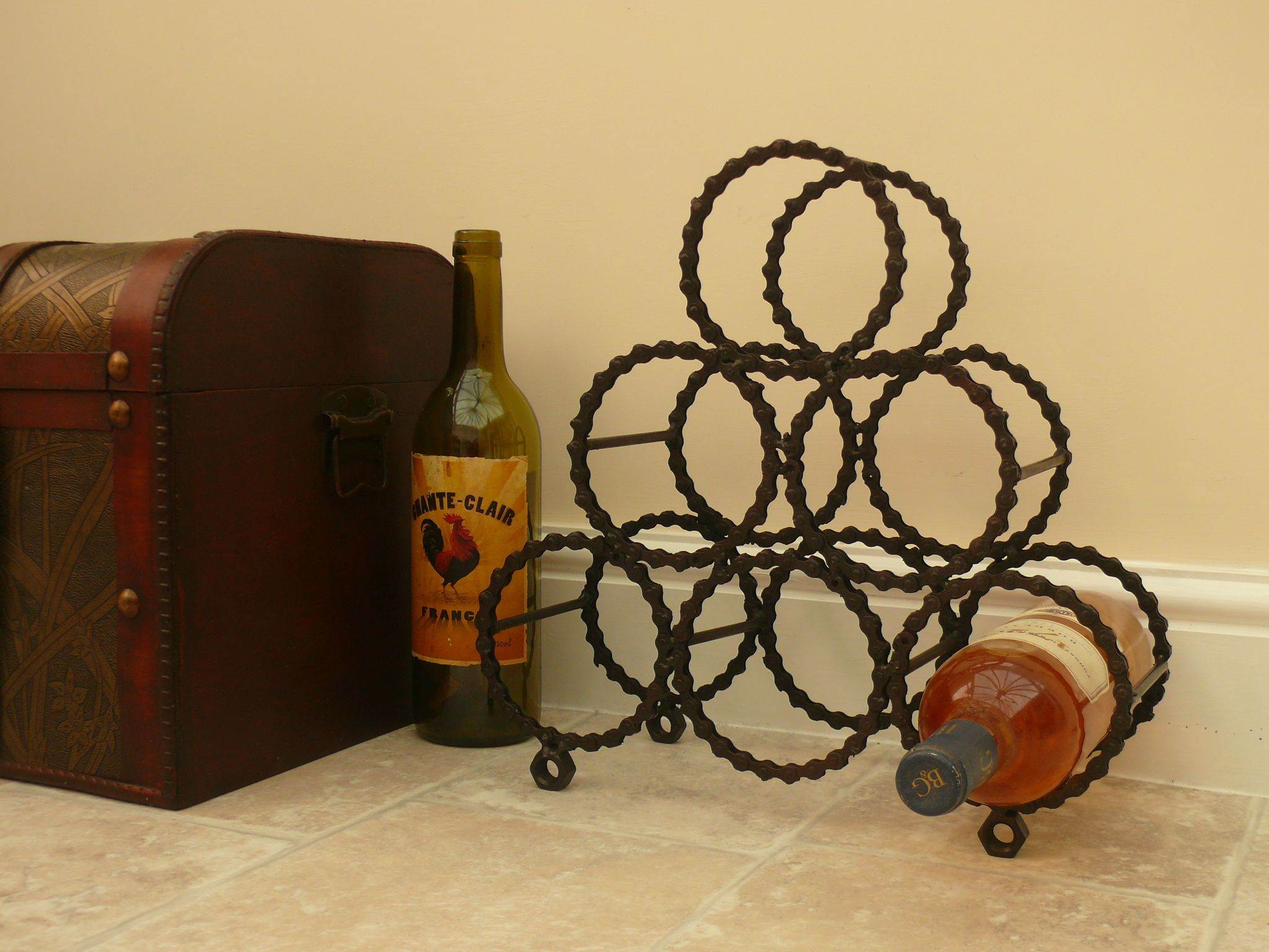 Reclaimed Bicycle Chain Wine Rack Bike Stuff Pinterest Wine