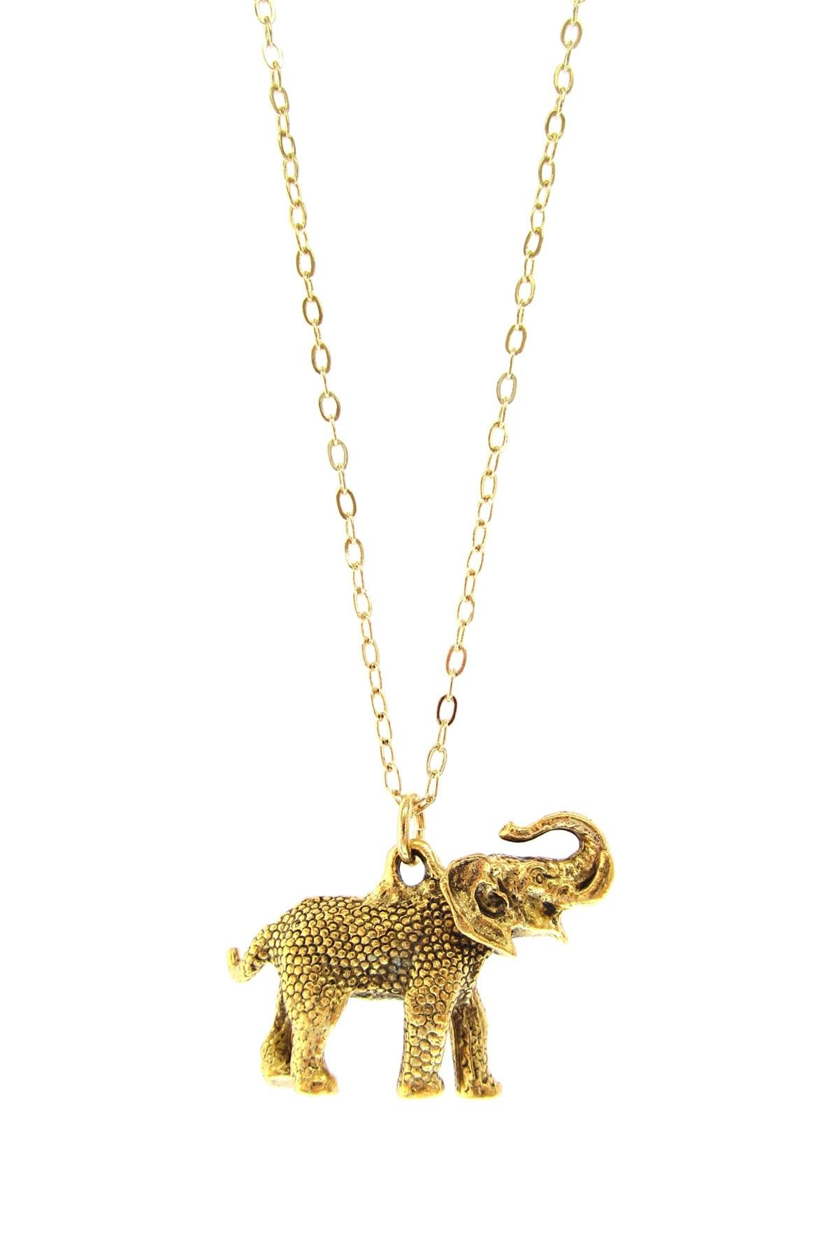 Charm Necklaces by Jami Rodriguez  Long Gold Elephant Necklace  $19.00
