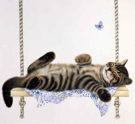 Cat illustration, of Cat lazing on Swing with a Blue Butterfly hovering above by Anne Mortimer ♥≻★≺♥