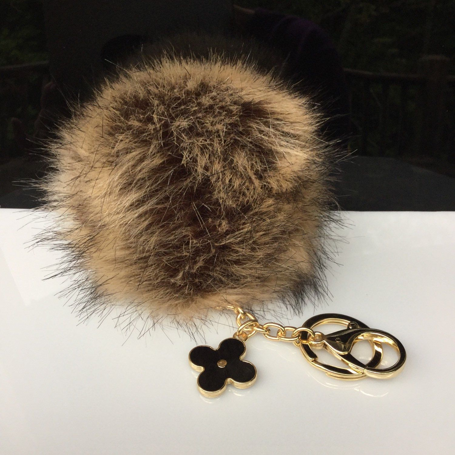 304a5271ccd7 Faux Fox Fur Pom Pom bag Keyring Hot Couture Novelty keychain pom pom fake  fur ball in imitated natural look by YogaStudio55 on Etsy