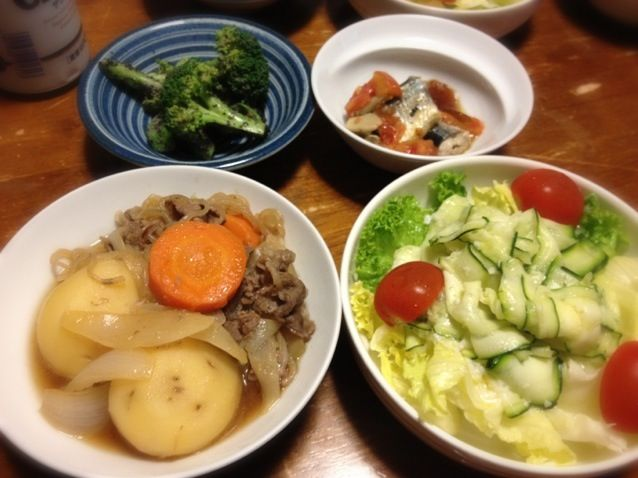 今日もズッキーニ❤ - 13件のもぐもぐ - 肉じゃが、ズッキーニのサラダ、ブロッコリー胡麻あえ by raku0dar