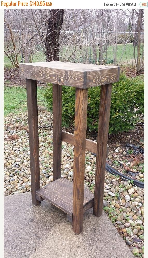Primitive Rustic Small Dark Walnut Stained Tall Skinny Sofa Etsy In 2020 Rustic Plant Stand Rustic Furniture Diy Plant Stand