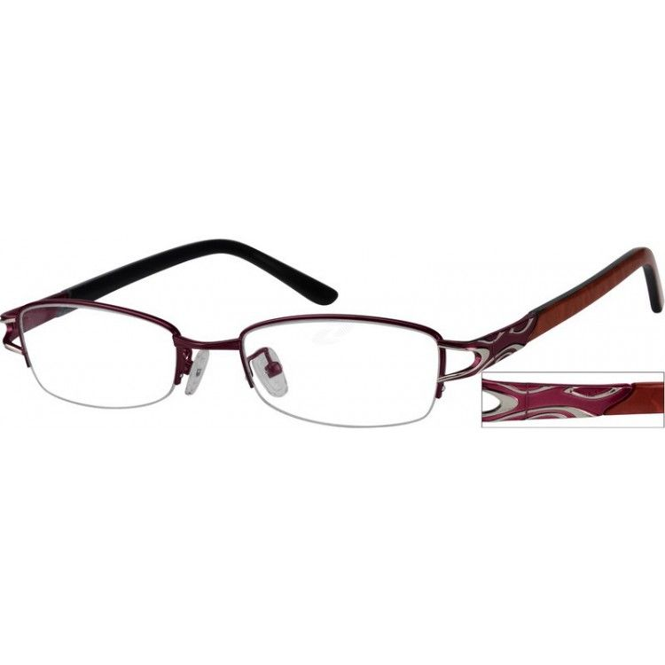 1cab80d35291d Purple Stainless Steel Half-Rim Frame with Acetate Temples  730817
