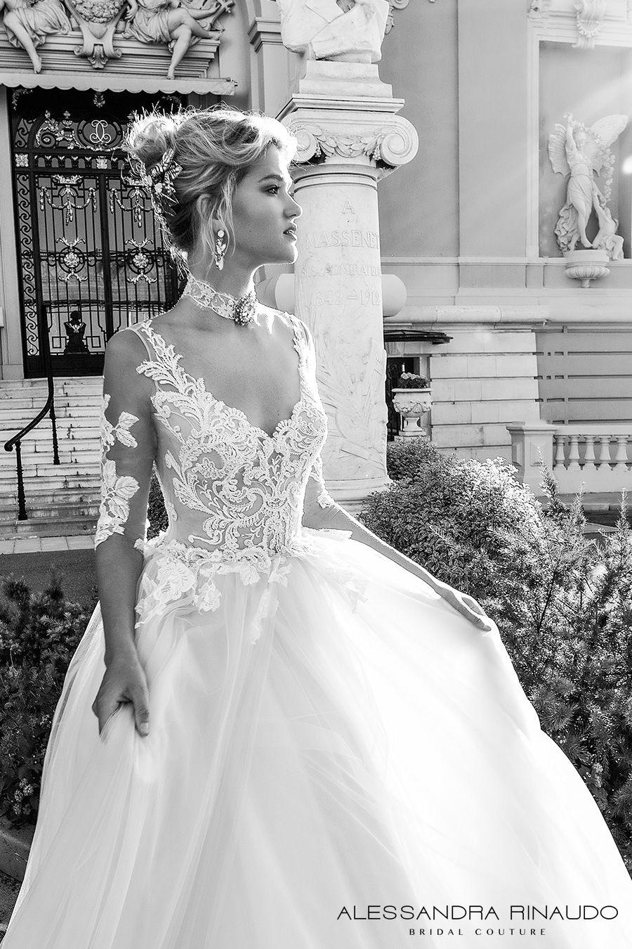 a842f6fabb4 alessandra rinaudo 2017 bridal half sleeves scoop neckline heavily  embellished bodice princess romantic a line wedding dress v back long royal  train ...