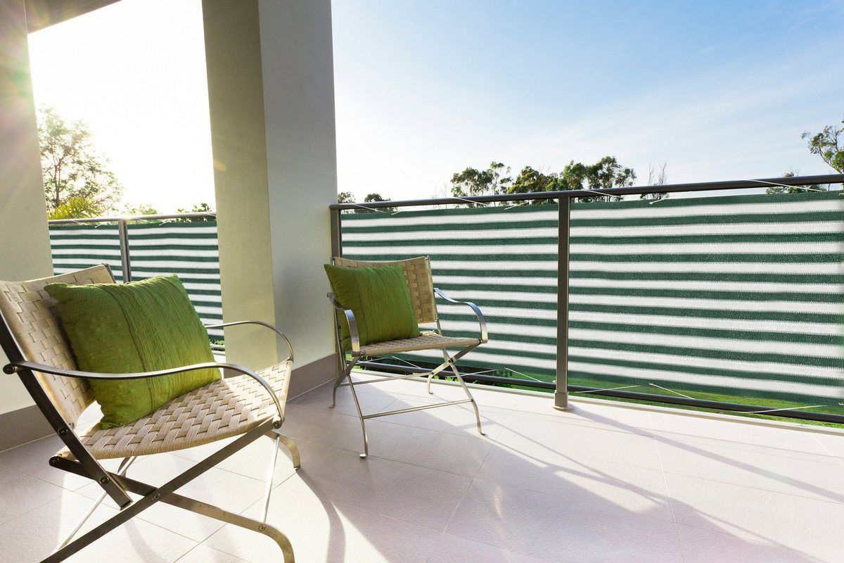 Balkonsichtschutz Bxh 500x90 Cm Grun Weiss Outdoor
