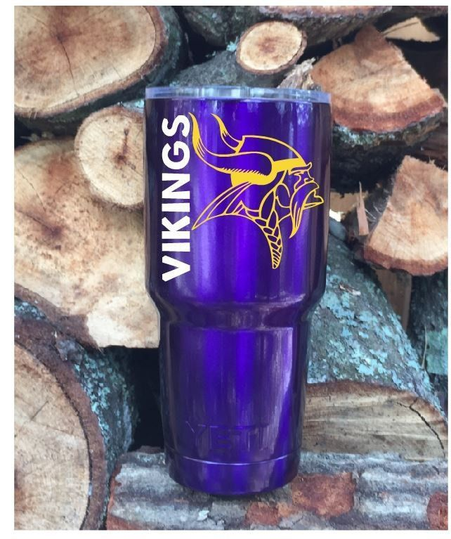 Minnesota Vikings Custom Powder Coated Purple Sparkle YETI RAMBLER - Custom vinyl decals minnesota