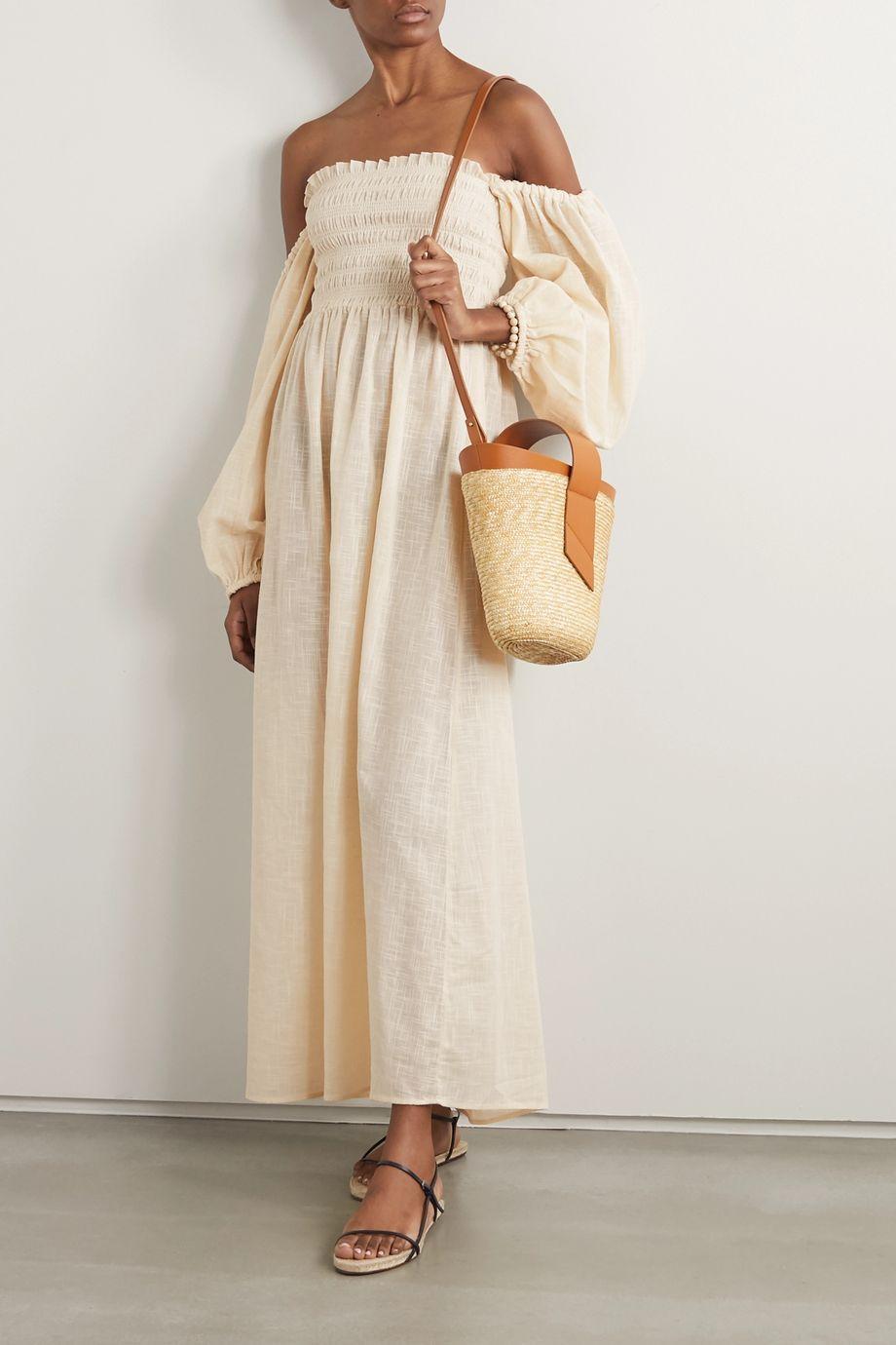 Cream Net Sustain Agatha Shirred Organic Cotton Gauze Midi Dress Cloe Cassandro Net A Porter Fashion Dresses To Wear To A Wedding Organic Cotton [ 1380 x 920 Pixel ]
