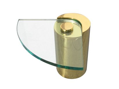Machine Age | Pair of Glass and Brass Side Tables by Karl Springer