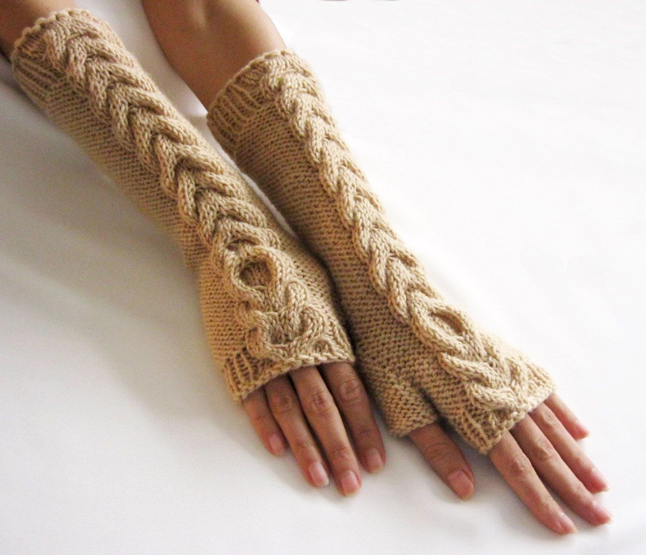 BEIGE LONG Fingerless Gloves, Merino Wool Mittens, Arm Warmers with ...