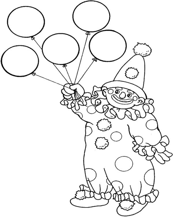 Circus And Carnival Clown Has Five Balloons Coloring Pages Bulk Color Coloring Pages Mandala Coloring Pages Barbie Coloring Pages