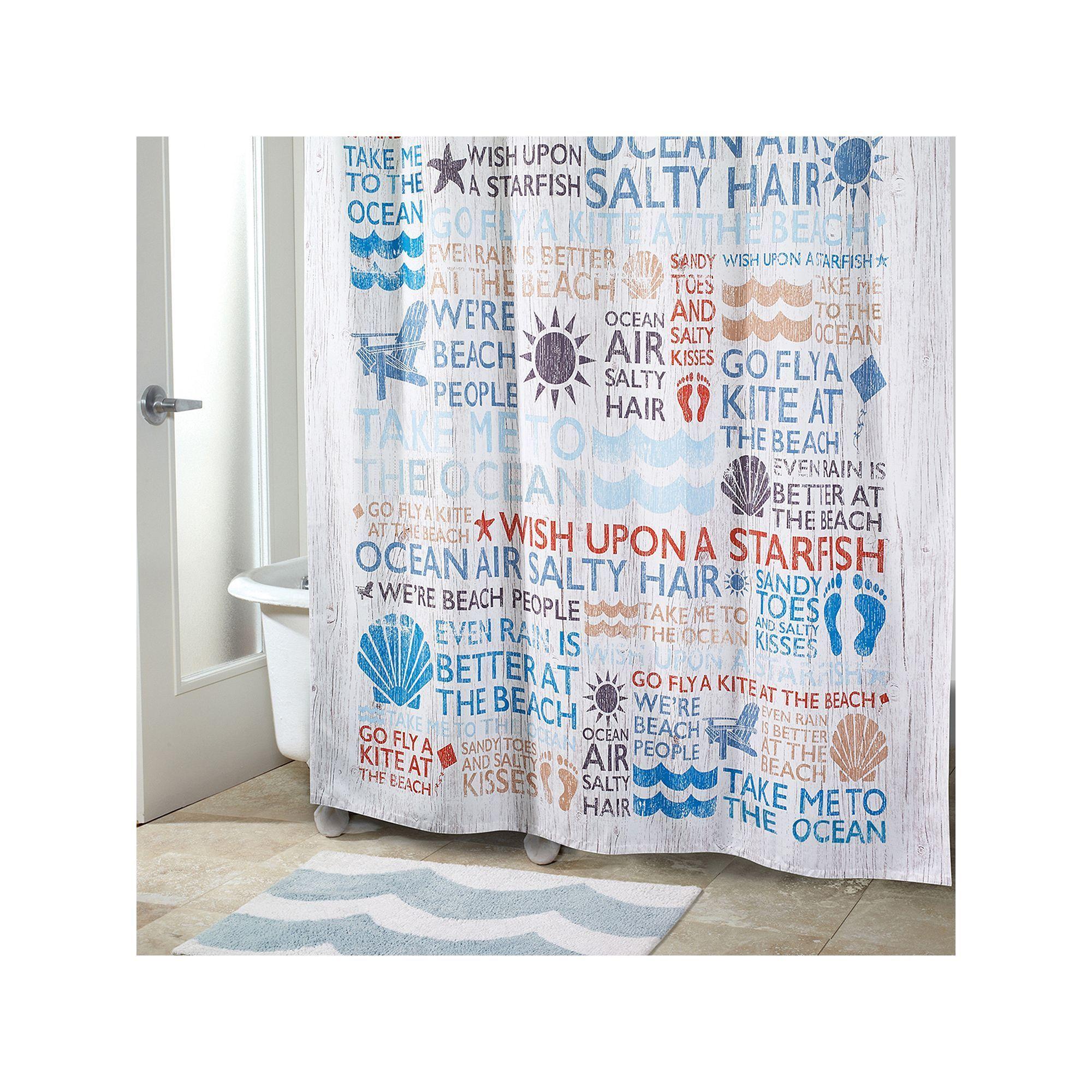 Avanti Beach Words Shower Curtain Multicolor
