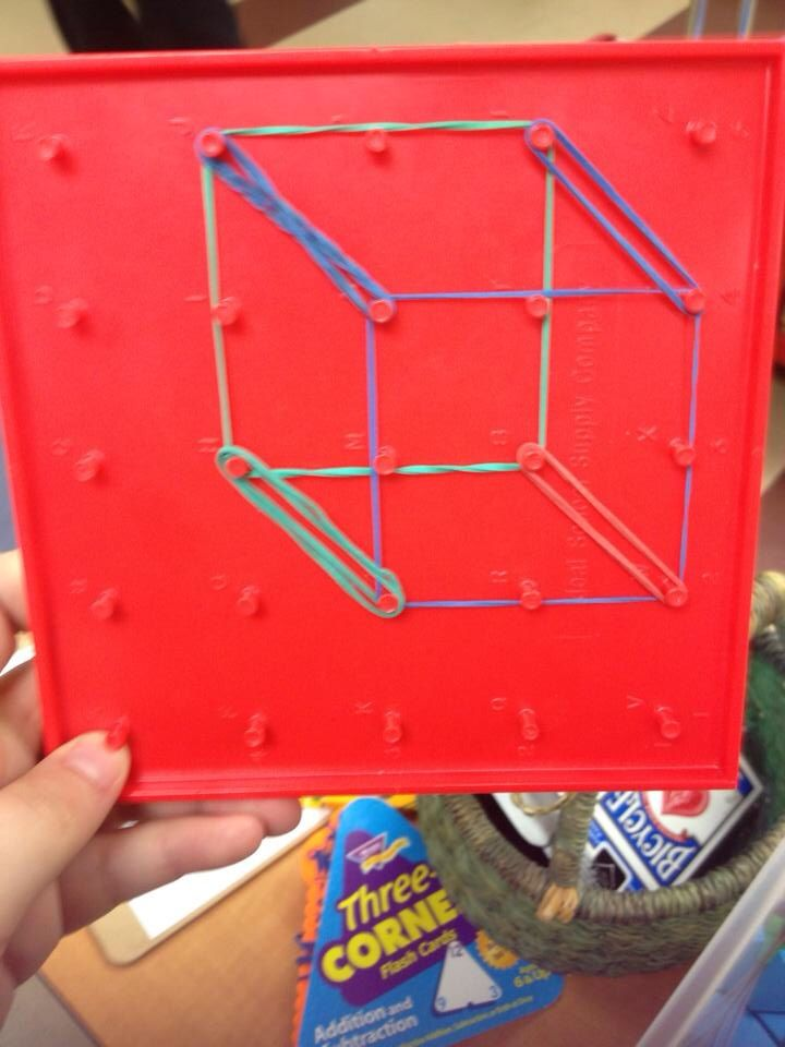 Math class manipulative  Create 3-D shapes on a geoboard