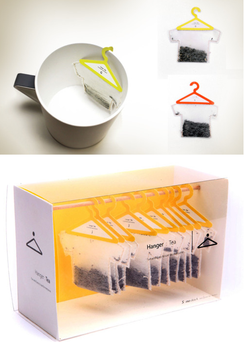 Cool tea bags with cloth hanger and a closet look-alike package