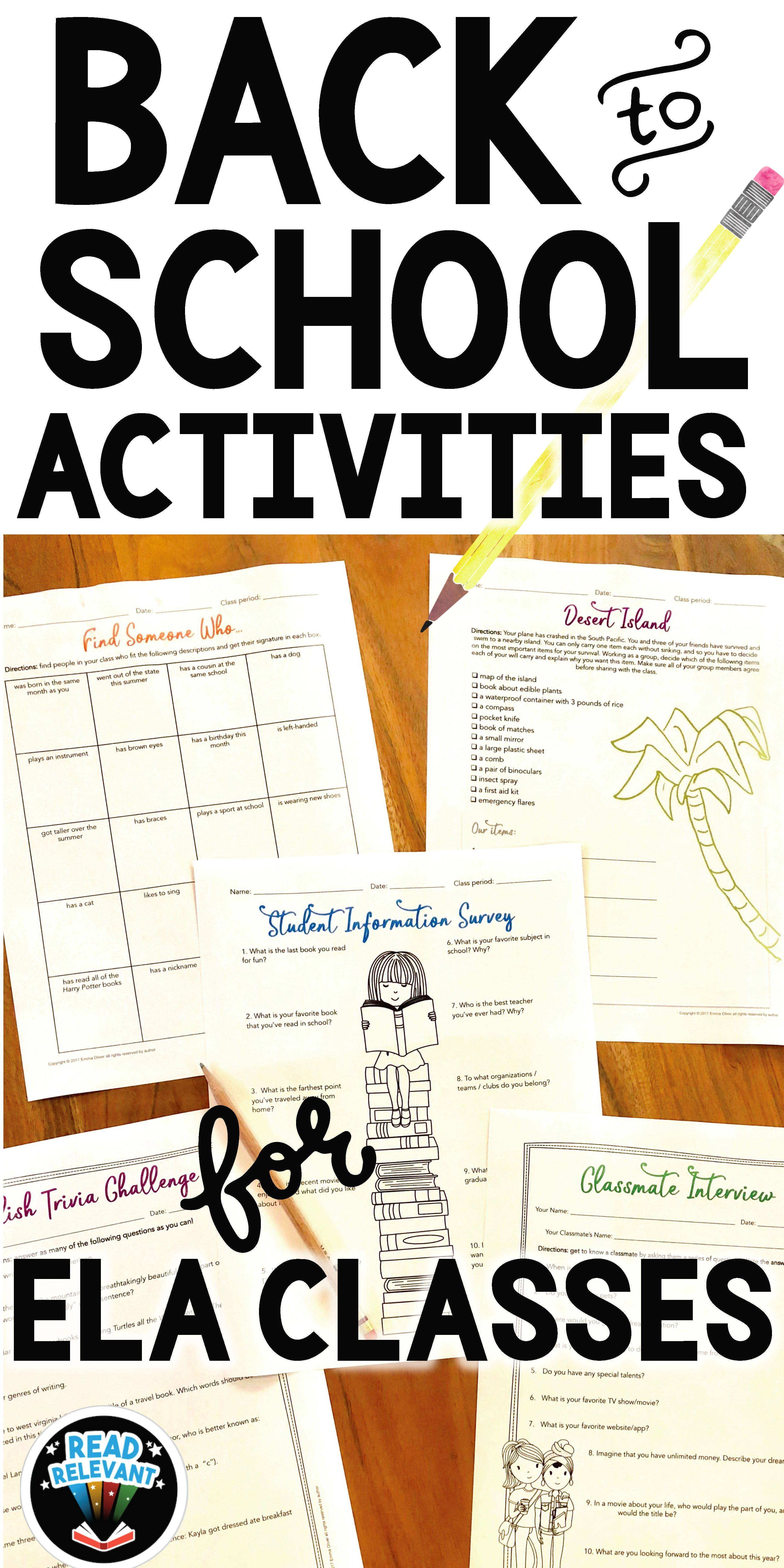 Back to School Activities for English Classes   Everthing