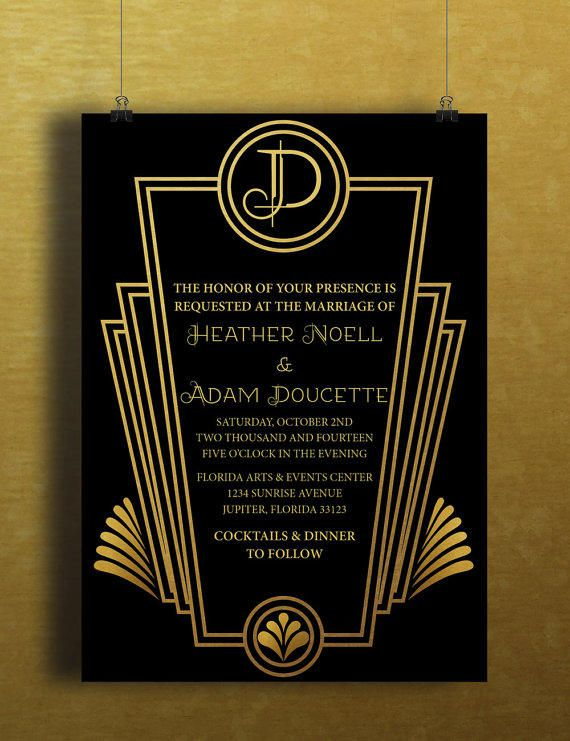 Instant Download Black Gold Art Deco Great Gatsby Vintage Diy