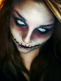 scary female halloween makeup - Google Search | omg | Pinterest